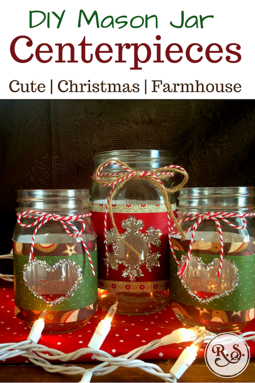 Beautiful DIY mason jar centerpieces for Christmas. They're easy to adapt & make for weddings, for graduations, or for birthdays! Very rustic & glittery, perfect for country-homestead decorations.