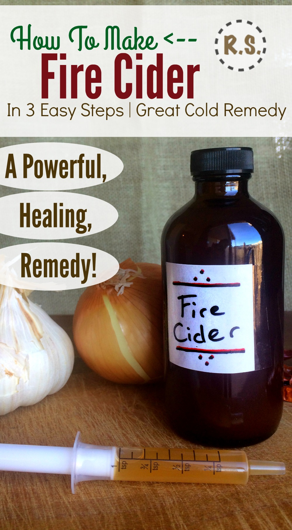 Make a powerful colds and flu remedy with this easy fire cider recipe. Take fire cider at the beginning of symptoms and stop a cold before it starts! An instant fire cider option is included too.