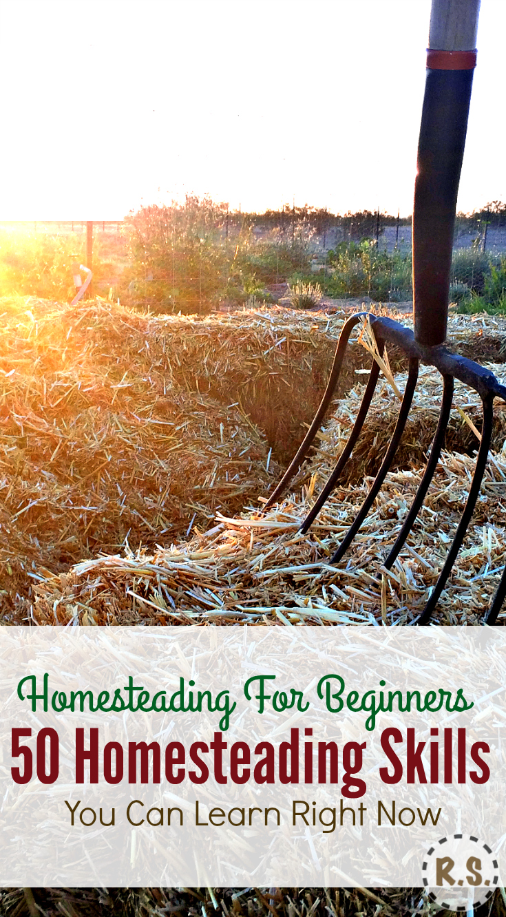 Here are 50 skills every homesteader needs. Ideas for a self-sufficient, urban & frugal life. Get your homesteading dream going! It's homesteading for beginners with little money, right where you are.